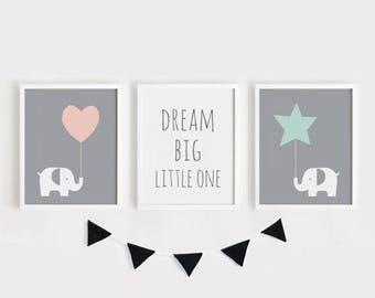 Printable Nursery Art Set of 3 Poster Baby room Wall art Kids room decor Child room art Elephant Dream big little one INSTANT Digital print