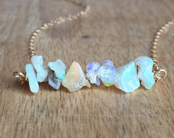 Raw Opal Necklace - Opal Necklace - Opal Jewelry - Opal - Raw Crystal Necklace -Raw Opal - October Birthstone