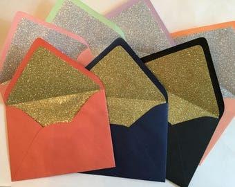 Glitter Lined Envelopes - 5 x 7 Glitter Lined Envelope - Invitation Envelopes - Wedding Envelopes - Wedding Envelopes Glitter - 5 x 7