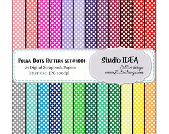 Polka Dots Digital Scrapbooking Paper- Letter size -300dpi-Digital Design Paper-24 colors-INSTANT DOWNLOAD