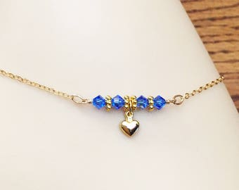 Gold Heart Anklet - Something Blue Ankle Bracelet - Swarovski Crystal Anklet - Gold Filled Chain Anklet - Love Anklet - Bridal Anklet