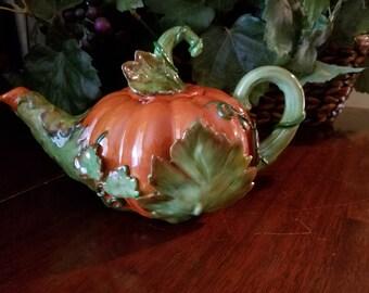 Beautiful Hand Painted Porcelaine Pumpkin Tea Pot