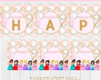 50%Off Banner Princess Tea Party, Girl Banner, Tea Party  Banner, Princess Tea Party Banner, Birthday Party, Tea Banner, Princess Banner
