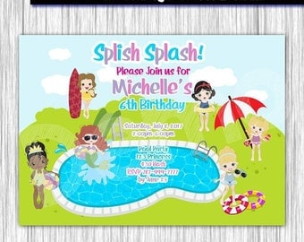 50%Off Pool Party Princess Invitation, Pool Princess Party, Princess Invitation, Pool Party Invite, Aloha,  Summer Party, Splish Splash Part