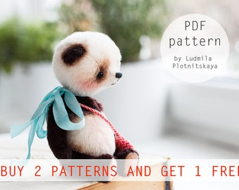 Artists OOAK Teddy Panda pattern, panda bear pattern, teddy pattern, soft toy pattern, miniature panda,  3.5 inches
