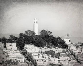 Coit Tower, San Francisco, California Photography, Black and White, Travel Decor, Fine Art Print, Wall Art