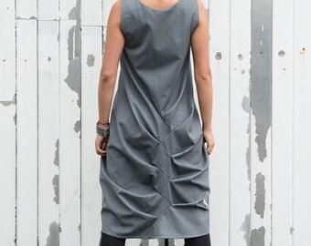 SALE Grey Loose Casual Tunic / Asymmetric Long Top / Grey Maxi Dress / Modern Vest Dress by METAMORPHOZA