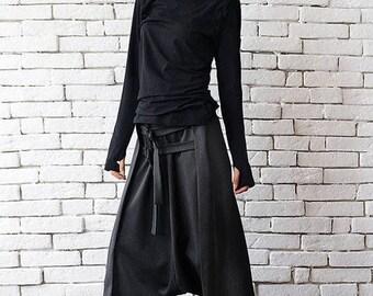 SALE Grey Maxi Pants with Belts / Extravagant Oversize Harem Pants / Drop Crotch Woman Pants by METAMORPHOZA
