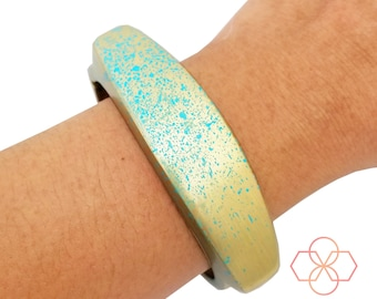 On SALE! TORY Fitbit Flex and Flex 2 Bangle Bracelet in Modern Brushed Gold with Blue Paint Splatter Design - 3 Sizes - FREE U.S. Shipping