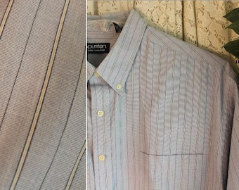 Vintage COTTON BLEND SHIRT Men's Size Extra Large 1X xl 46 / 48 Long Sleeve, Dress Business Casual Prep Button Down Collar