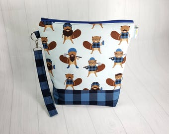 Lumberjack Burly Beavers Blue Medium Knitting Project Bag, Medium Zippered Wedge Bag, Zipper Bag, Shawl Project Bag WM0038