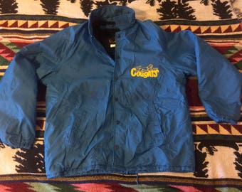 1960s Champion Running Man Tag Sherpa Lined Cougars Button Jacket Size Large