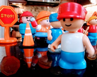 Vintage Playmobile and Fisher Price Construction Worker LOT