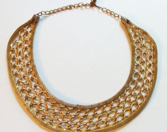 Vintage Gold Textured Collar Necklace 1970 Bib Necklace Statement Necklace