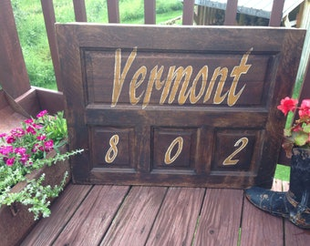 Vermont 802 , sign, rustic, home decor, New England ,