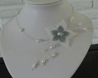 White and grey wedding bridal silk flower bridal necklace