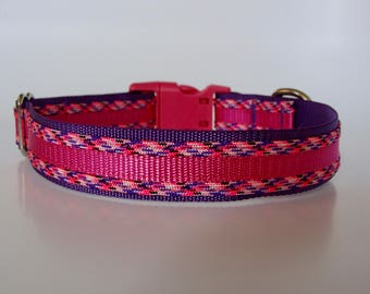 Glamorous Paracord Dog Collar - Raspberry and Purple - Ready to Ship!