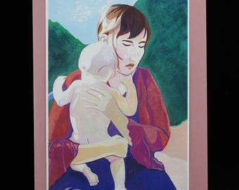 Mother and Baby, Madonna and Child Art Note Card by Arizona Artist, Karlene Voepel