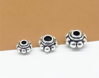 Sterling Silver Gear Spacer Beads, Sterling Silver Saucer Spacer Bead, Sterling Bail Bead, 925 Sterling European Bead 4mm 5mm 6mm -TF179