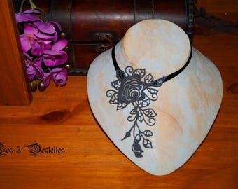 Necklace wedding tattoo style rose pattern Black Lace
