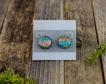 Fused Glass Stud Earrings/ Glass Jewelry/ Glass Earrings/ Thymes Treasures/ Unique Gift/ Turquoise Jewelry/ Gold/ Abstract/ Dichroic Glass