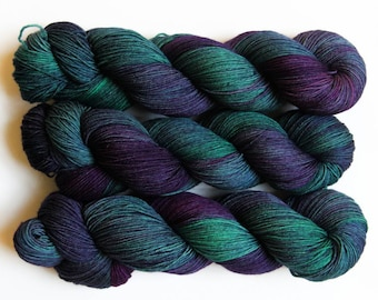 Cosmonaut - sparkly variegated jewel tone sock yarn on SOL gold sparkle sock - ready to ship