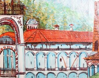 Vintage art oil painting monastery landscape