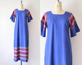 Guatemalan Dress, 70s Maxi Dress, Blue Cotton Dress, Vintage Caftan M L, Embroidered Mexican Dress, Bell Sleeve Dress // 1970s Boho Hippie