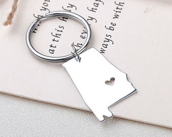I heart Alabama keychain - Alabama keyring - Map keychain - State Charm - Map Jewelry