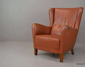 Modern Vintage Style Tan Wing Back Chair