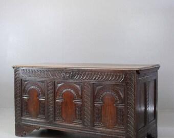 Antique 18th Century Rustic Oak Coffer