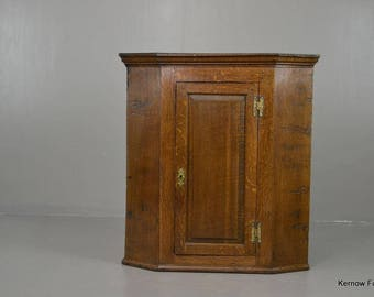 Antique Oak Wall Corner Cabinet