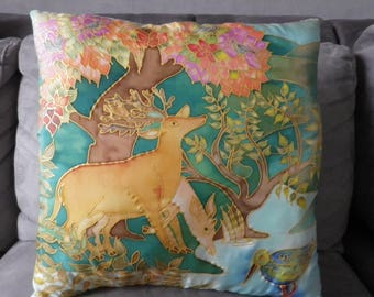 "silk cushion, ""deer and underbrush"" hand painted"