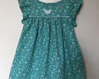 cotton green flower girl dress