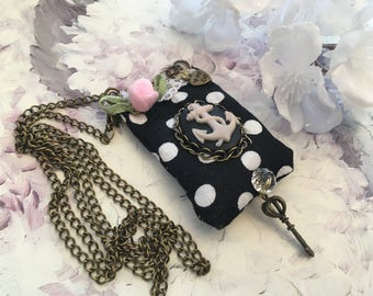 Necklace romantic pendant scent Lavender polka dot fabric