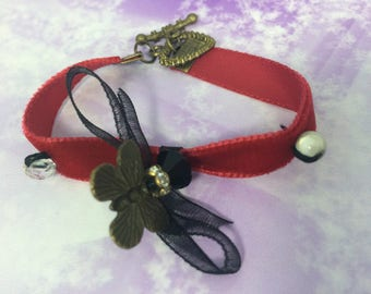 charms and red velvet Cuff Bracelet