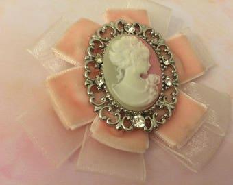 brooch shabby chic pink rose cameo velvet soft