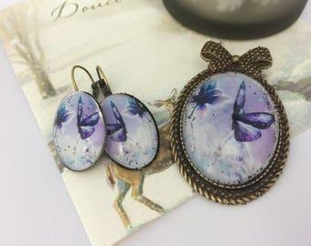 set brooch and earrings ' ear Butterfly purple and bronze