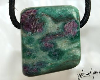 Ruby in fuchsite on leather strap / cotton cord (necklace)