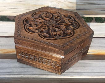 Handcrafted Hexagon Armenian Wooden Box with Eternity Sign