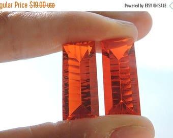 tITLE Matched Pair AAA Beautiful Orange Quartz Concave Cut Baguettes Size 24*10 MM
