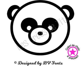 Heat transfer panda head, heat transfer to iron,panda head iron on, heat transfer design to iron on clothes, iron on decal panda head