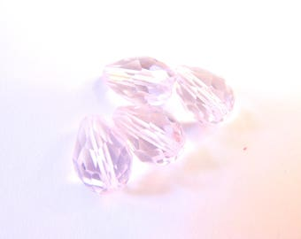 4 8/10 MM PALE PINK FACETED CRYSTAL DROPS