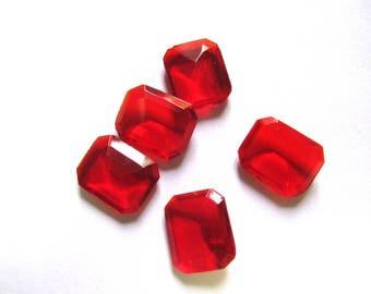 CRYSTAL CLEAR RECTANGULAR 14/16 MM RUBY RED CABOCHON RHINESTONES