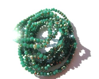 30 ROUND TWO-TONE GREEN CRYSTAL BEADS 3 MM HEMATITE AND JADE