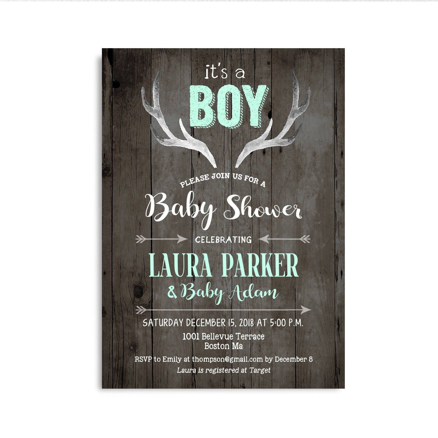 Deer Baby Shower Invitation For Boy. Antlers Rustic Wood Mint ...