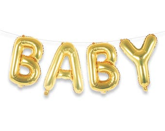 "BABY 16"" Gold Foil Letter Balloon Banner Kit"