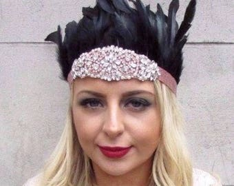 Rose Gold Black Feather Headdress Headband 1920s Showgirl Carnival Festival 4245