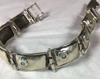 Sterling silver and opal signed bracelet Israel