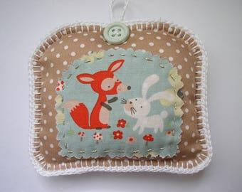 Fox and rabbit deco fabrics and felt cushion
